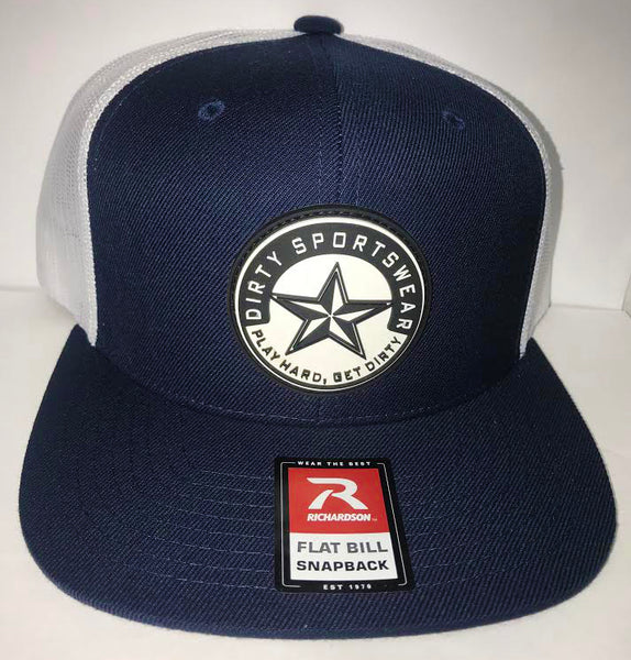 #280 Navy Blue and White Mesh Hat -Dirty Sports Star Rubber Patch