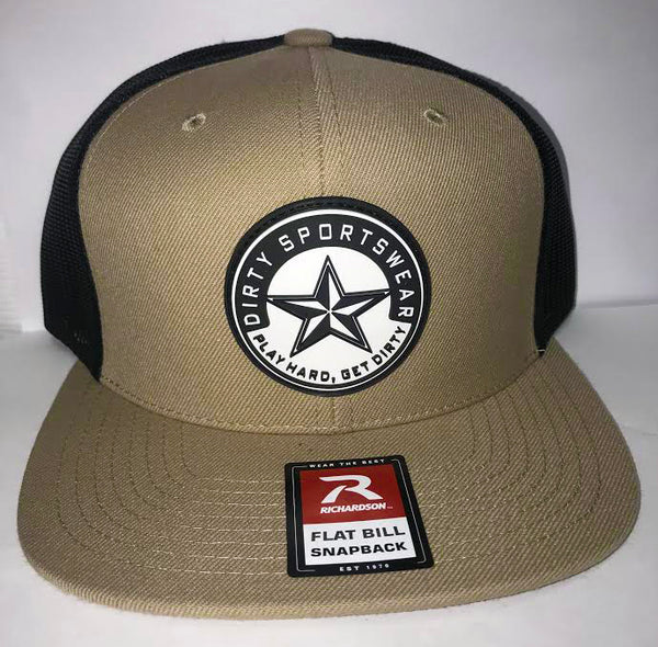 #281 Tan and Black Mesh Hat -Dirty Sports Star Rubber Patch