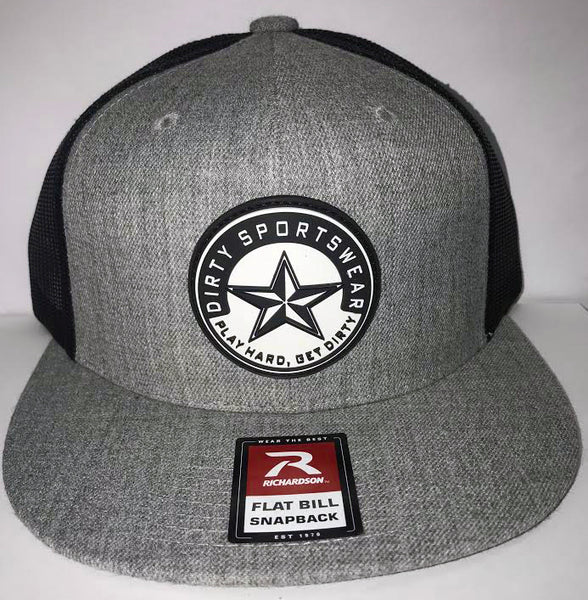 #282 Heather and Black Mesh Hat -Dirty Sports Star Rubber Patch
