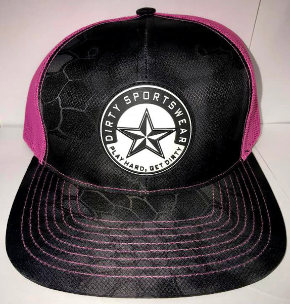 #283 Black and Pink Mesh Hat -Dirty Sports Star Rubber Patch