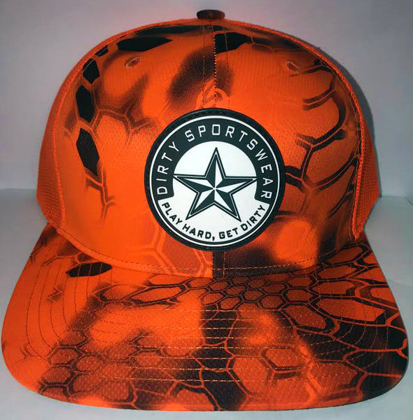 #284 Neon Orange Mesh Hat -Dirty Sports Star Rubber Patch