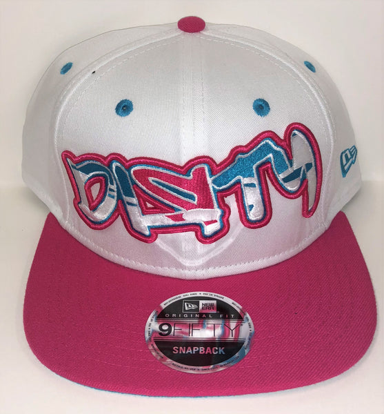 New Era 9FIFTY Snap-Back Hat - White, Blue & Pink - White, Blue & Pink Graffiti DIЯTY Logo #287