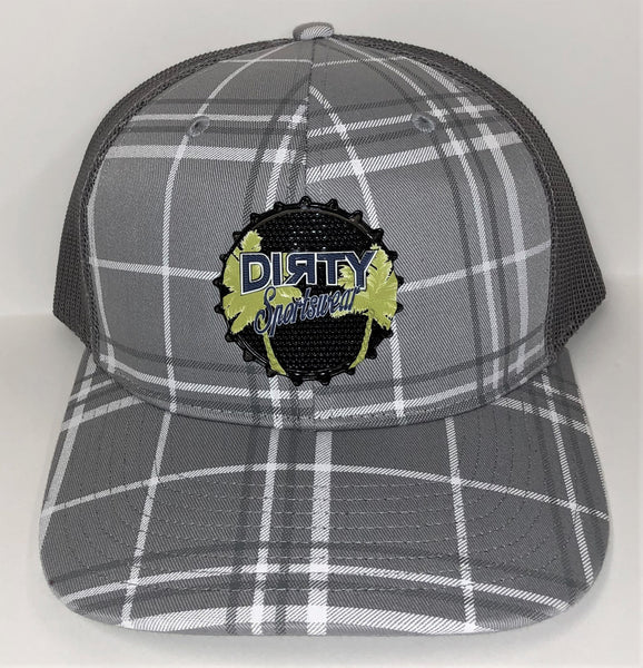Snap Back Hat - Gray & White Plaid - Dirty Sports Rubber Patch #293