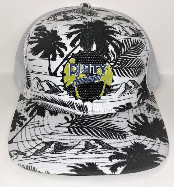 Snap Back Hat - White & Black Palm Trees - Dirty Sports Rubber Patch #294