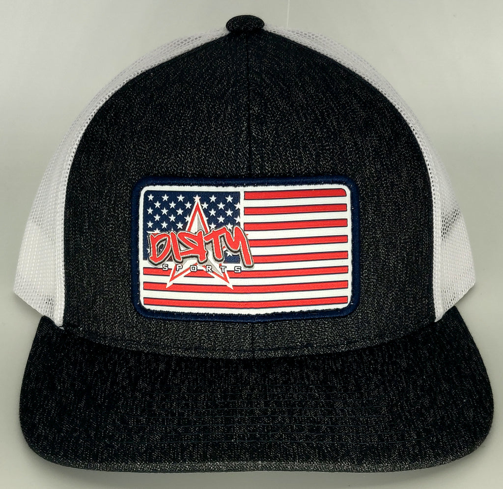 #352 Heather Black & White Hat - Dirty USA Flag Patch