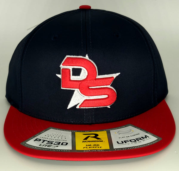 #353 Navy Blue & Red Hat - 3D DS Embroidered Logo