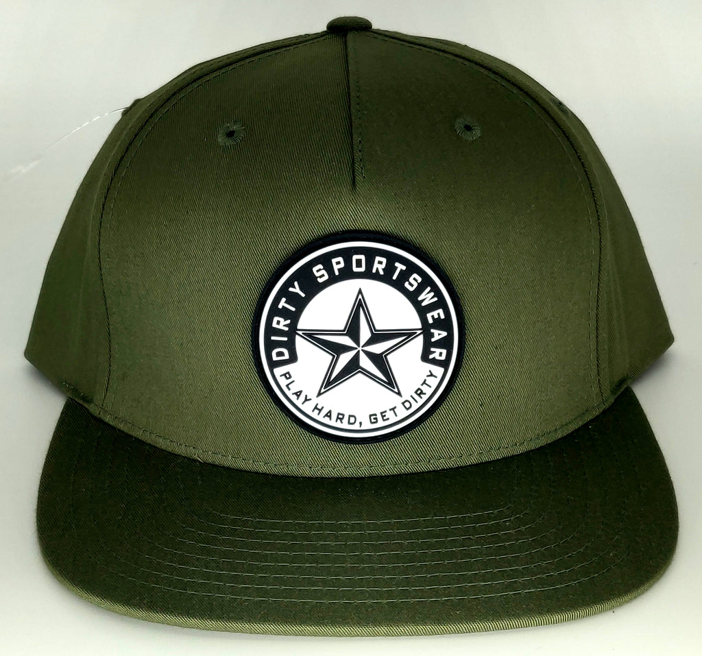 #357 Olive Green Hat - Dirty Sports Logo Rubber Patch