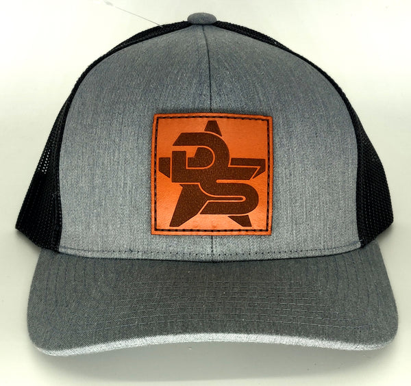 #359 Heather Gray & Charcoal Hat - Leather DS Patch