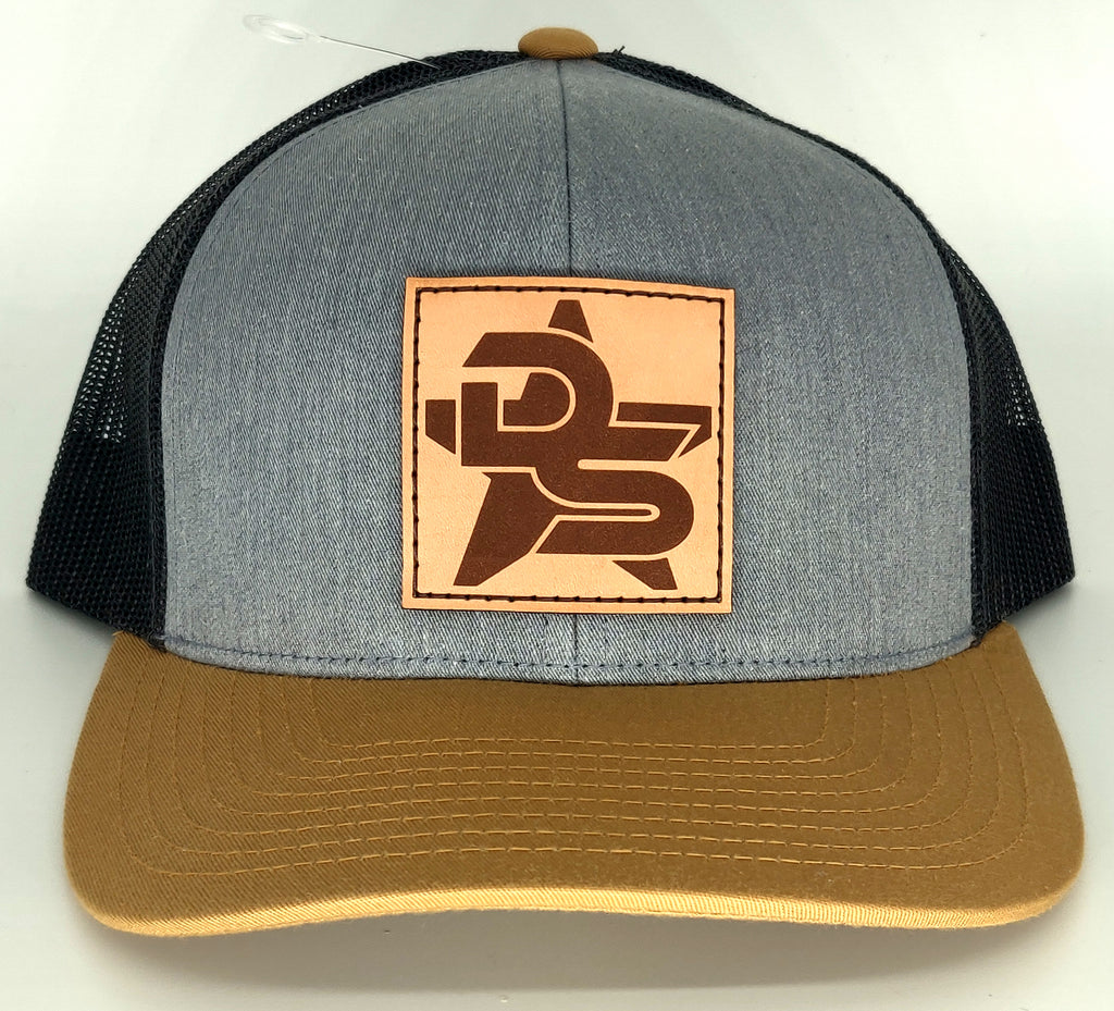 #360 Heather Gray, Tan, & Charcoal Hat - Leather DS Patch