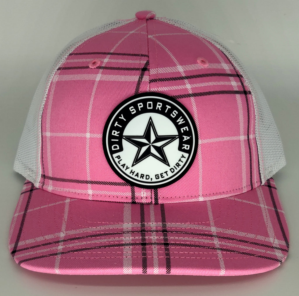 #364 Pink Paid & White Hat - Dirty Sports Logo Rubber Patch