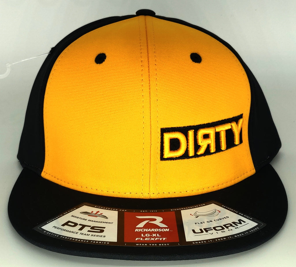 #367 Yellow & Black Hat - 3D Dirty Embroidered Logo