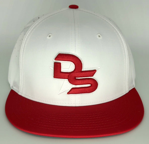 #369 White & Red Hat - 3D DS Embroidered Logo
