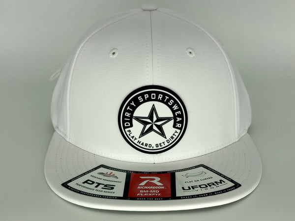 #371 White Hat - Rubber Dirty Sports Patch Logo