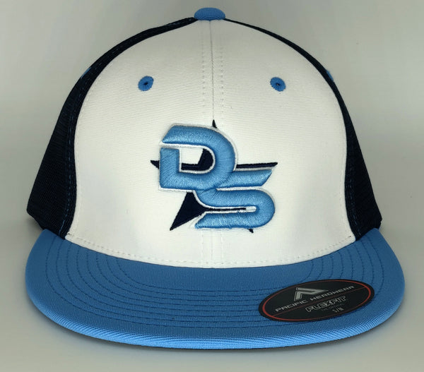 #372 White & Blue Hat - 3D DS Embroidered Logo
