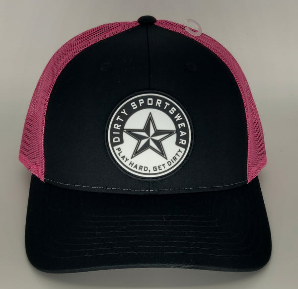 #380 Black & Hot Pink Hat - Dirty Sports Star Rubber Patch