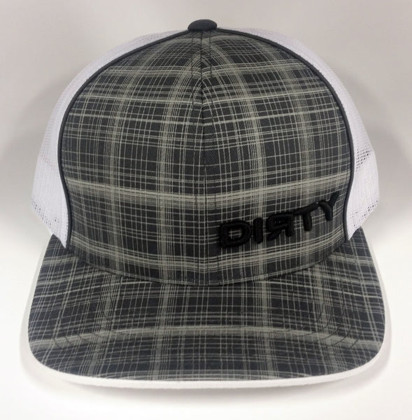 Snap Back - Gray, White Plaid Hat - Small, Black Dirty #194