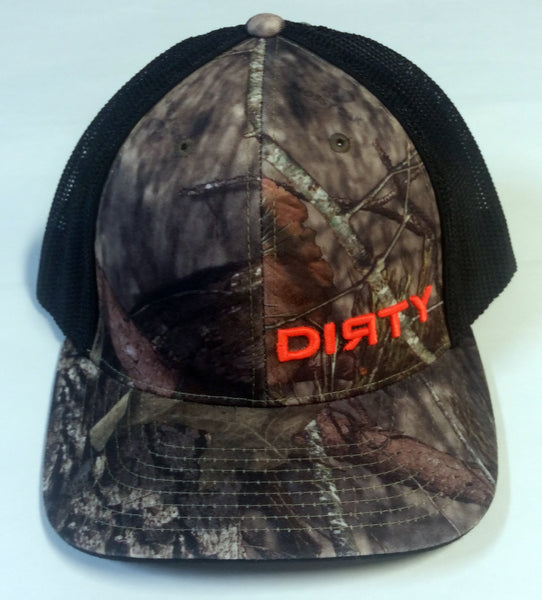 #195 Woodlands Camo and Black Hat - Small Orange Dirty logo