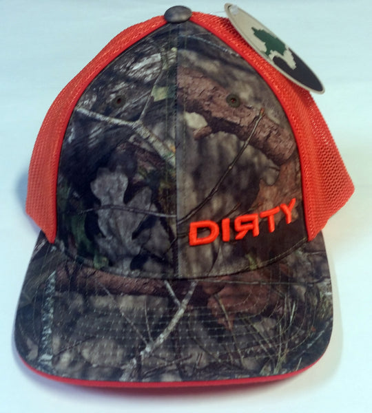 #196 Woodlands Camo and Orange Hat - Small Orange Dirty logo