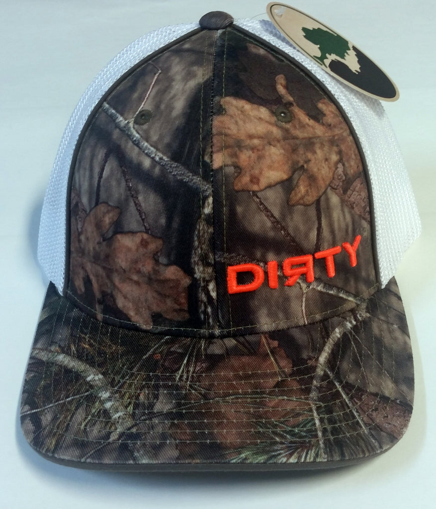 #197 Woodlands Camo and White Hat - Small Orange Dirty logo