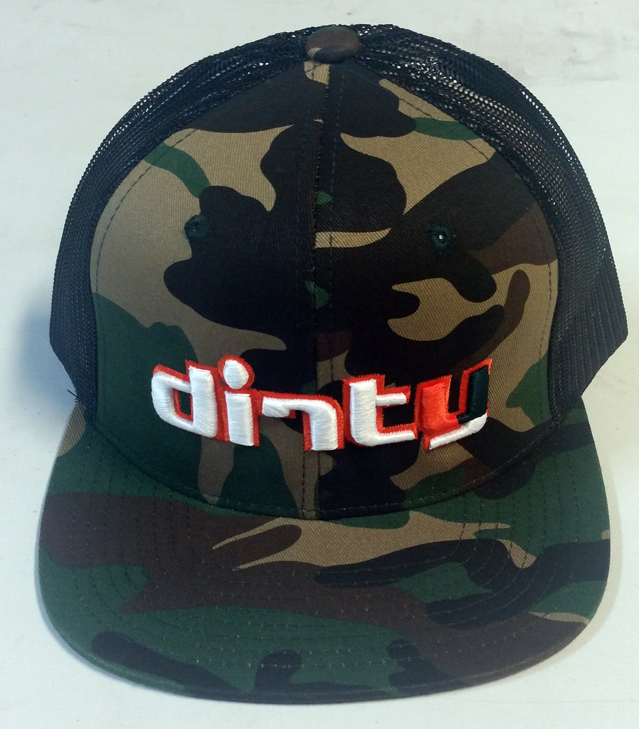 #217 Camo & Black Snap-Back Hat - Dirty Hurricanes Font logo