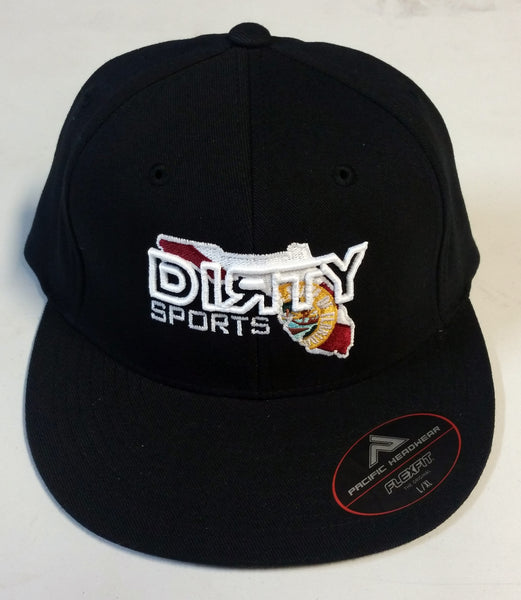#220 Black Fitted Hat - White Dirty Florida logo