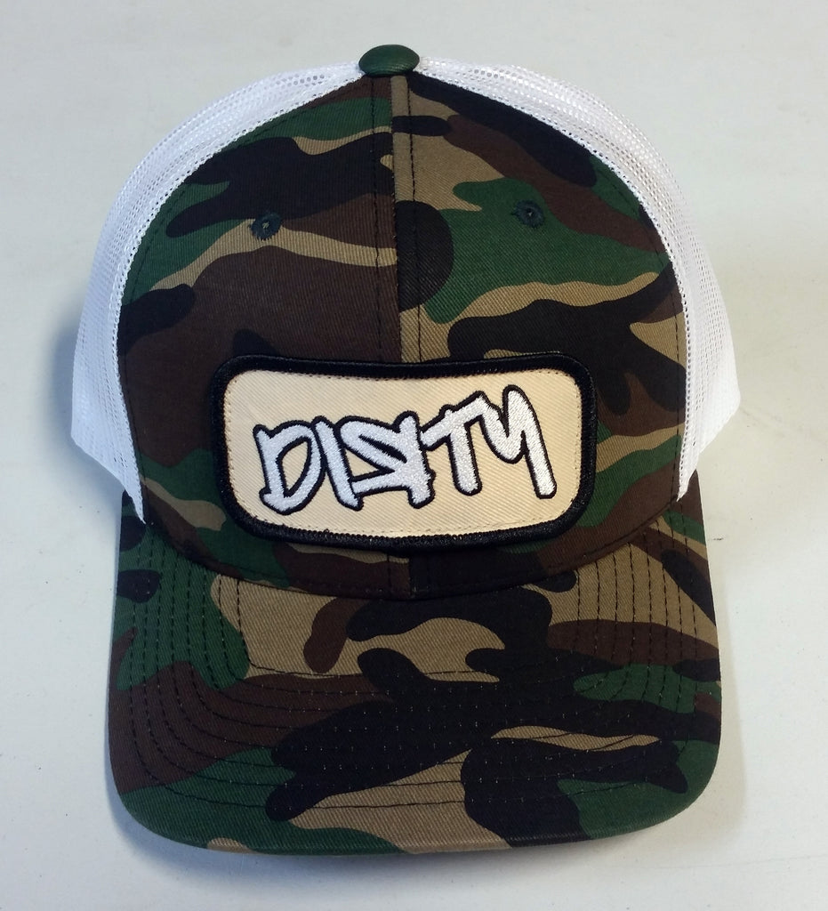 #226 Camo & White Snapback Hat - Graffiti Dirty Patch