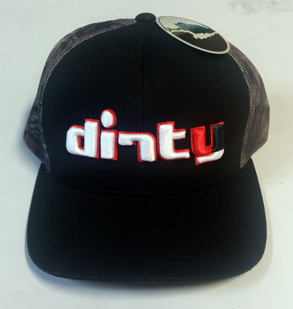 #228 Black & Camo Snap-Back Hat - Dirty 'Canes font