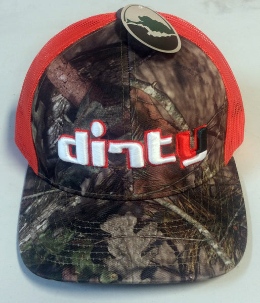 #230 Mossy Oak Camo & Orange Snap-Back Hat - Dirty 'Canes font
