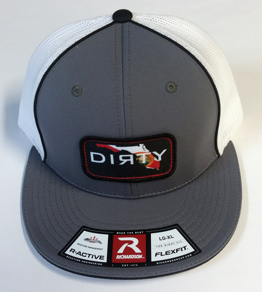 #235 Gray & White Hat, Black Piping Piping - Dirty Florida Patch