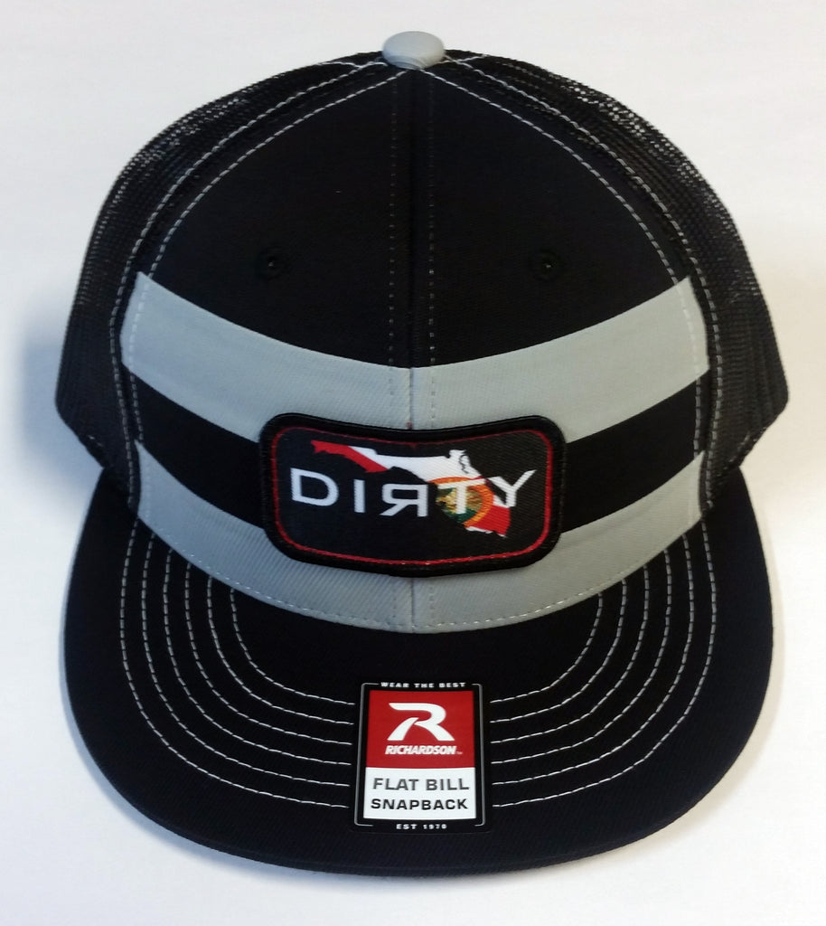 #236 Black & Gray Striped Hat - Dirty Florida Patch