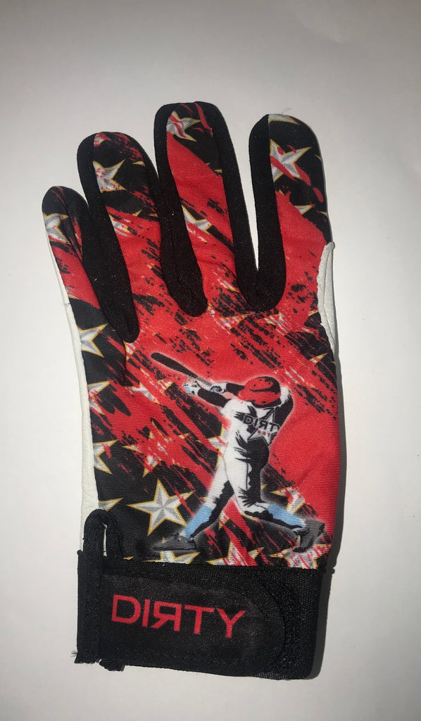 Dirty Sports, Batting Gloves - Baseball Player - Red, White, Black