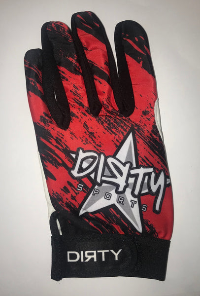 Dirty Sports, Batting Gloves - Red, Black Grunge