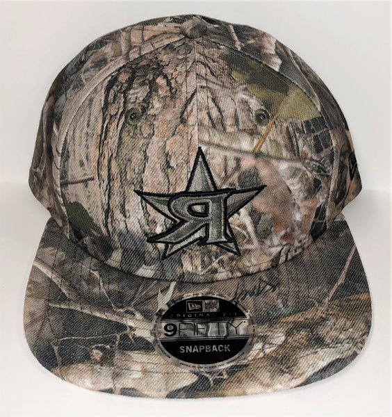 New Era 9FIFTY Snap-Back Hat -  WOODLANDS CAMO - Olive Green & Black  Я STAR Logo #289