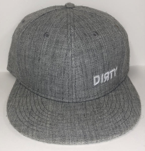 Snap Back Hat - Heather Gray- Small White DIЯTY Logo #296