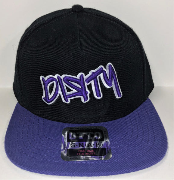 Snap Back Hat -Black & Purple - Large GRAFFITI Purple & White DIЯTY Logo #298