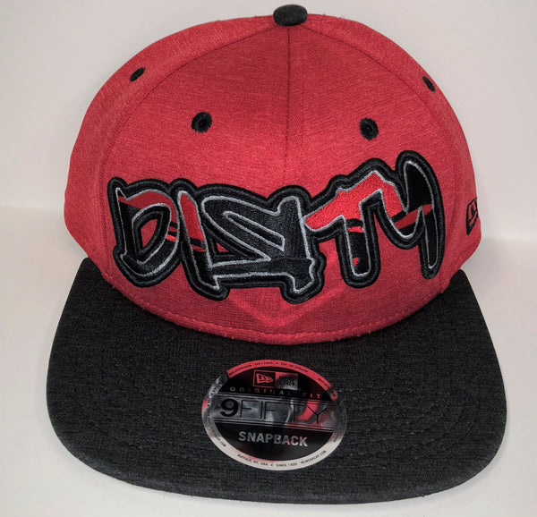 New Era 9FIFTY Snap-Back Hat - Red & Black - Red, Black & Gray Graffiti DIЯTY Logo #286
