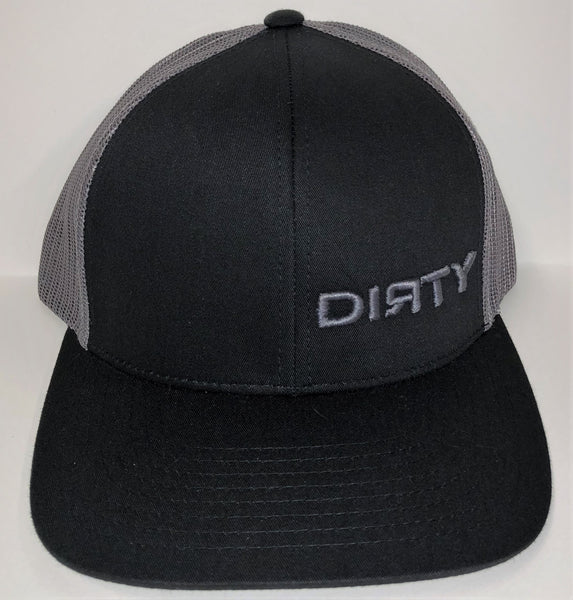 Snap Back Hat - Black & Graphite - Small Graphite DIЯTY Logo #128