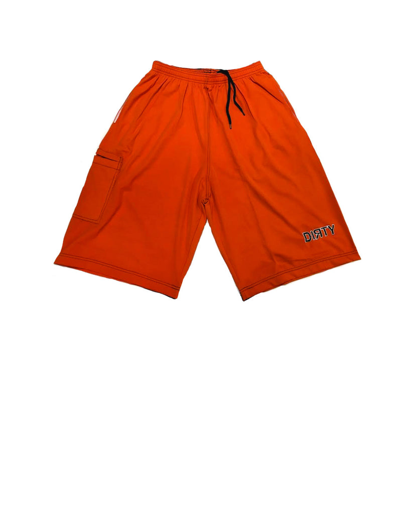 Dirty Sports, Micro Fiber Shorts - Orange, Black logo