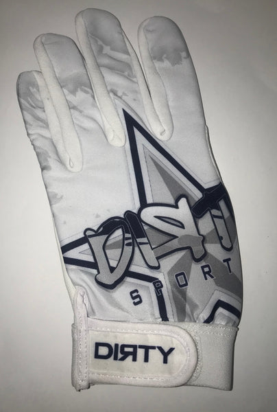 Dirty Sports, Batting Gloves - Graffiti Star, White and Navy Blue