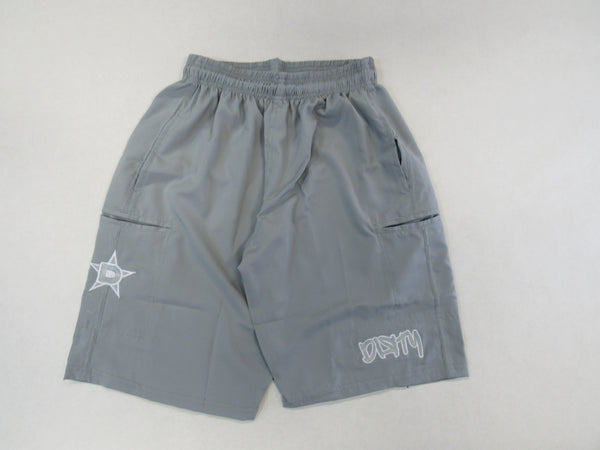 4-WAY STRETCH SHORT- Gray with White Dirty Graffiti Logo