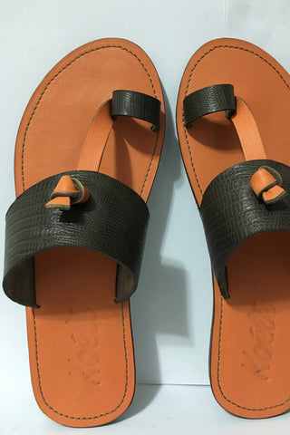 Hand-made Leather Sandals - Brown with Peach Soles
