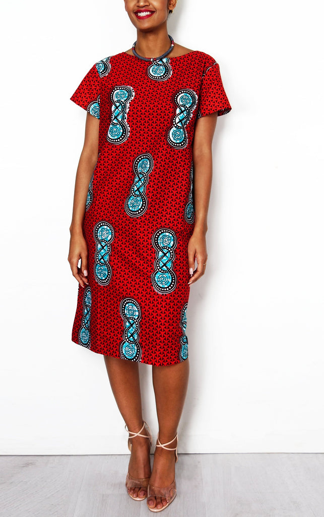 Sapelle Red African Print Dress