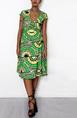 Sapelle African Print Wrap Dress Green