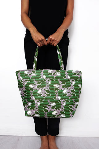Green African Print Tote Bag
