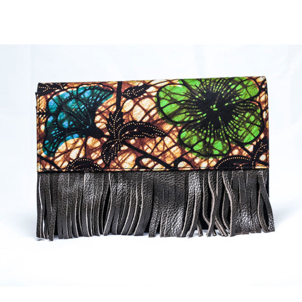 Green and Brown Fringe Purse