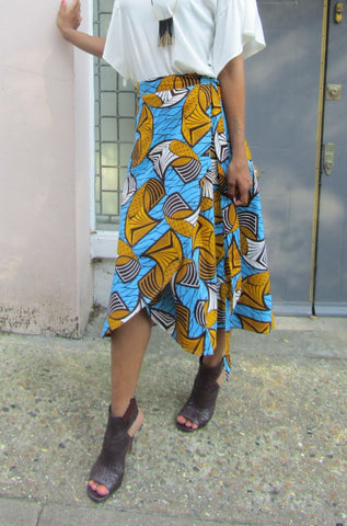 Sapelle Shop Ankara African Print Wrap Skirt Yellow