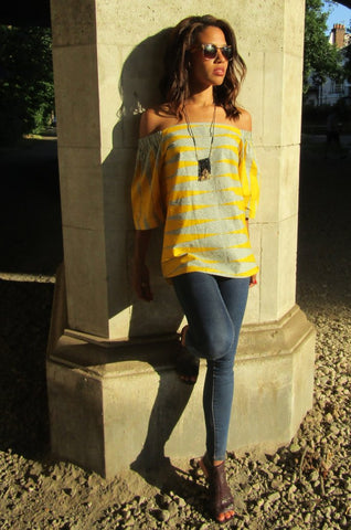Sapelle Shop African Print Top Shirt Yellow