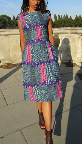 African Print 'Sea Purple' Skater Dress