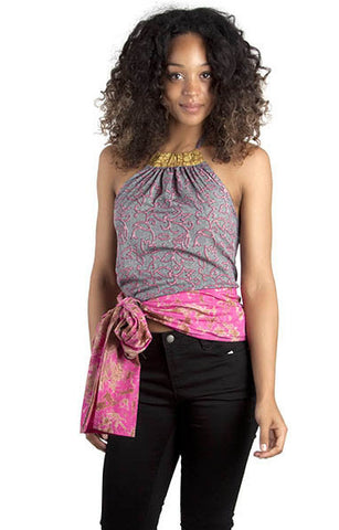 Pink Halter-neck Wrap-around Summer Top