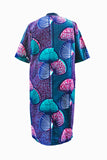 African Palm Print Tunic Shift Dress